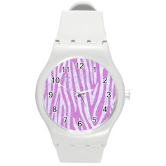 Skin4 White Marble & Purple Colored Pencil (r) Round Plastic Sport Watch (m) by trendistuff