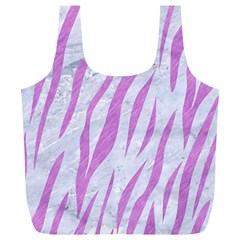 Skin3 White Marble & Purple Colored Pencil (r) Full Print Recycle Bags (l)