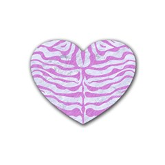 Skin2 White Marble & Purple Colored Pencil (r) Rubber Coaster (heart)  by trendistuff