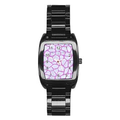 Skin1 White Marble & Purple Colored Pencil Stainless Steel Barrel Watch by trendistuff