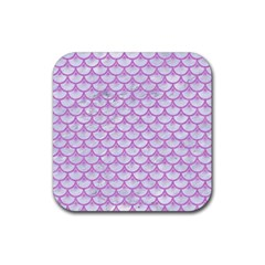 Scales3 White Marble & Purple Colored Pencil (r) Rubber Square Coaster (4 Pack)  by trendistuff