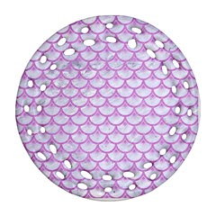 Scales3 White Marble & Purple Colored Pencil (r) Round Filigree Ornament (two Sides) by trendistuff