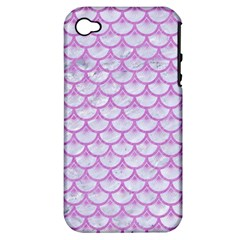 Scales3 White Marble & Purple Colored Pencil (r) Apple Iphone 4/4s Hardshell Case (pc+silicone) by trendistuff