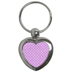 Scales3 White Marble & Purple Colored Pencil Key Chains (heart)  by trendistuff