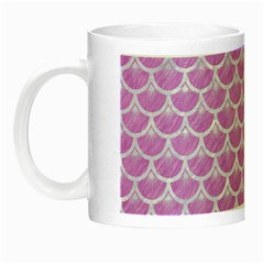 Scales3 White Marble & Purple Colored Pencil Night Luminous Mugs by trendistuff