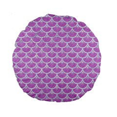 Scales3 White Marble & Purple Colored Pencil Standard 15  Premium Round Cushions by trendistuff