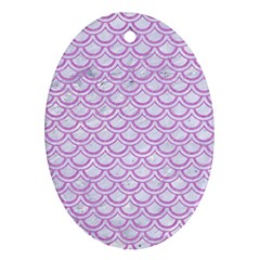 Scales2 White Marble & Purple Colored Pencil (r) Ornament (oval) by trendistuff