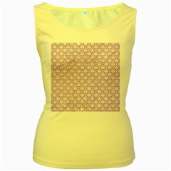 Scales2 White Marble & Purple Colored Pencil (r) Women s Yellow Tank Top by trendistuff