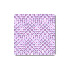 Scales2 White Marble & Purple Colored Pencil (r) Square Magnet by trendistuff