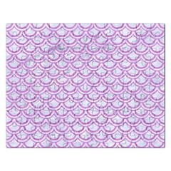Scales2 White Marble & Purple Colored Pencil (r) Rectangular Jigsaw Puzzl by trendistuff