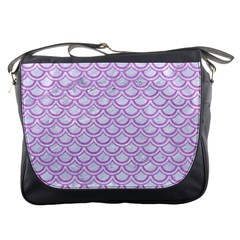 Scales2 White Marble & Purple Colored Pencil (r) Messenger Bags by trendistuff