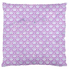 Scales2 White Marble & Purple Colored Pencil (r) Large Flano Cushion Case (two Sides) by trendistuff