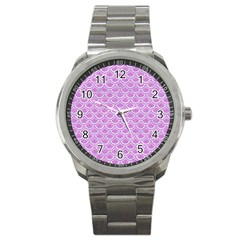 Scales2 White Marble & Purple Colored Pencil Sport Metal Watch by trendistuff