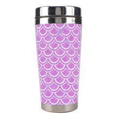 Scales2 White Marble & Purple Colored Pencil Stainless Steel Travel Tumblers by trendistuff