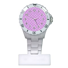 Scales2 White Marble & Purple Colored Pencil Plastic Nurses Watch by trendistuff