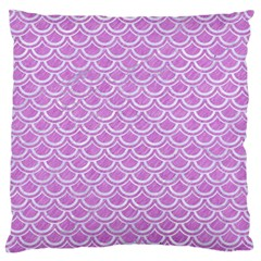 Scales2 White Marble & Purple Colored Pencil Large Flano Cushion Case (two Sides) by trendistuff