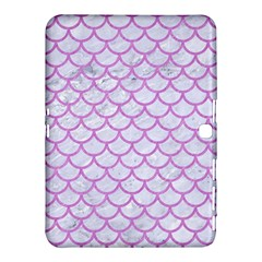 Scales1 White Marble & Purple Colored Pencil (r) Samsung Galaxy Tab 4 (10 1 ) Hardshell Case  by trendistuff