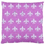 ROYAL1 WHITE MARBLE & PURPLE COLORED PENCIL (R) Large Cushion Case (Two Sides) Front