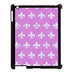 Royal1 White Marble & Purple Colored Pencil (r) Apple Ipad 3/4 Case (black) by trendistuff