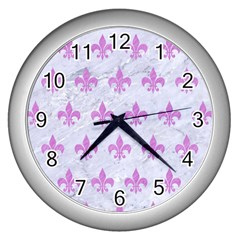 Royal1 White Marble & Purple Colored Pencil Wall Clocks (silver)  by trendistuff