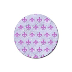 Royal1 White Marble & Purple Colored Pencil Rubber Coaster (round)  by trendistuff