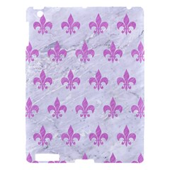 Royal1 White Marble & Purple Colored Pencil Apple Ipad 3/4 Hardshell Case by trendistuff