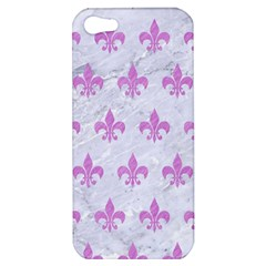 Royal1 White Marble & Purple Colored Pencil Apple Iphone 5 Hardshell Case by trendistuff