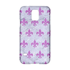 Royal1 White Marble & Purple Colored Pencil Samsung Galaxy S5 Hardshell Case  by trendistuff