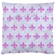 Royal1 White Marble & Purple Colored Pencil Large Flano Cushion Case (one Side) by trendistuff