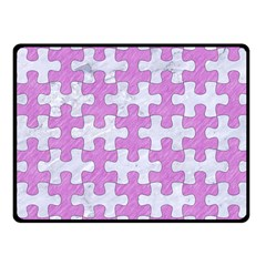 Puzzle1 White Marble & Purple Colored Pencil Fleece Blanket (small) by trendistuff