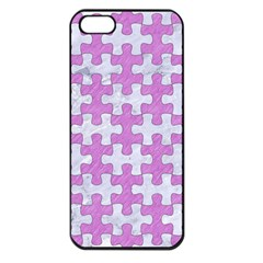 Puzzle1 White Marble & Purple Colored Pencil Apple Iphone 5 Seamless Case (black) by trendistuff
