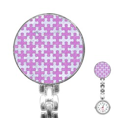 Puzzle1 White Marble & Purple Colored Pencil Stainless Steel Nurses Watch by trendistuff