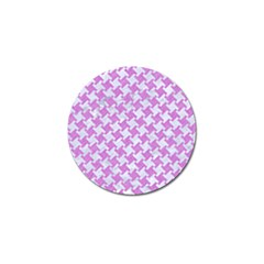 Houndstooth2 White Marble & Purple Colored Pencil Golf Ball Marker by trendistuff