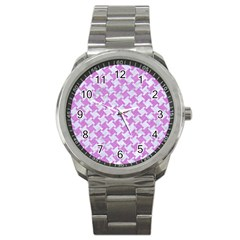 Houndstooth2 White Marble & Purple Colored Pencil Sport Metal Watch by trendistuff