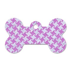 Houndstooth2 White Marble & Purple Colored Pencil Dog Tag Bone (two Sides) by trendistuff