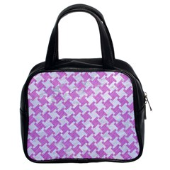 Houndstooth2 White Marble & Purple Colored Pencil Classic Handbags (2 Sides)