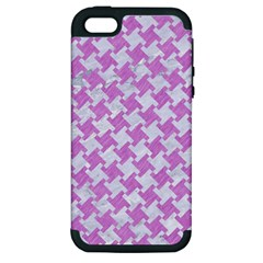 Houndstooth2 White Marble & Purple Colored Pencil Apple Iphone 5 Hardshell Case (pc+silicone) by trendistuff