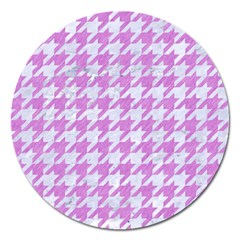 Houndstooth1 White Marble & Purple Colored Pencil Magnet 5  (round) by trendistuff