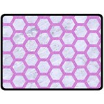 HEXAGON2 WHITE MARBLE & PURPLE COLORED PENCIL (R) Fleece Blanket (Large)  80 x60 Blanket Front