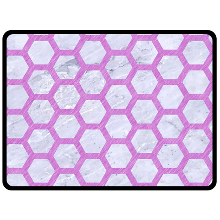 HEXAGON2 WHITE MARBLE & PURPLE COLORED PENCIL (R) Fleece Blanket (Large)