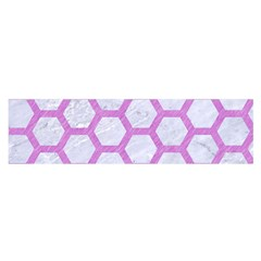 Hexagon2 White Marble & Purple Colored Pencil (r) Satin Scarf (oblong) by trendistuff