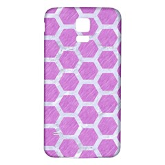 Hexagon2 White Marble & Purple Colored Pencil Samsung Galaxy S5 Back Case (white) by trendistuff
