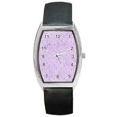 Hexagon1 White Marble & Purple Colored Pencil (r) Barrel Style Metal Watch by trendistuff