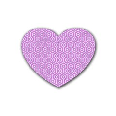 Hexagon1 White Marble & Purple Colored Pencil Heart Coaster (4 Pack)  by trendistuff