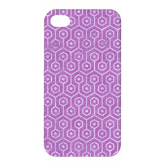 Hexagon1 White Marble & Purple Colored Pencil Apple Iphone 4/4s Hardshell Case by trendistuff