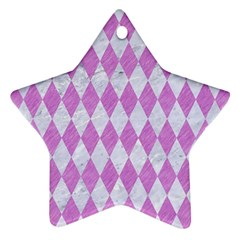 Diamond1 White Marble & Purple Colored Pencil Star Ornament (two Sides) by trendistuff