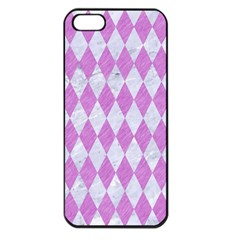 Diamond1 White Marble & Purple Colored Pencil Apple Iphone 5 Seamless Case (black) by trendistuff