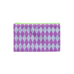 Diamond1 White Marble & Purple Colored Pencil Cosmetic Bag (xs) by trendistuff