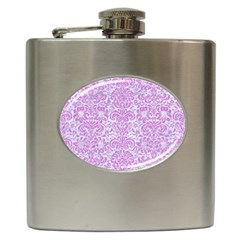 Damask2 White Marble & Purple Colored Pencil (r) Hip Flask (6 Oz) by trendistuff