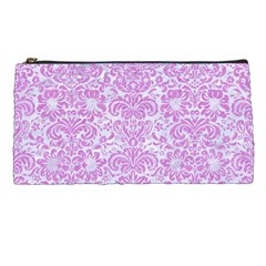 Damask2 White Marble & Purple Colored Pencil (r) Pencil Cases by trendistuff